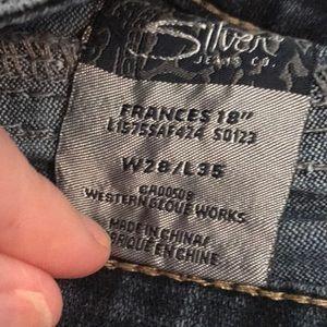 "4afb4ce9 Silver Jeans Jeans - Silver jeans- Frances 18"" GREAT condition. sz. 28"